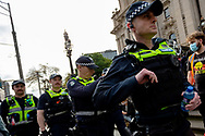 Police are seen marching in large numbers on the steps of Parliament House during a Black Lives Mater rally on 06 June, 2020 in Melbourne, Australia. This event was organised to rally against aboriginal deaths in custody in Australia as well as in unity with protests across the United States following the killing of an unarmed black man George Floyd at the hands of a police officer in Minneapolis, Minnesota. (Photo by Dave Hewison/ Speed Media)