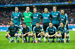 MADRID, SPAIN - Wednesday, October 22, 2008: Liverpool's players line-up for a team group photograph before the UEFA Champions League Group D match against Club Atletico de Madrid at the Vicente Calderon. Back row L-R: Albert Riera, goalkeeper Pepe Reina, Xabi Alonso, Andrea Dossena, Daniel Agger, Javier Mascherano. Front row L-R: Alvaro Arbeloa, Jamie Carragher, captain Steven Gerrard MBE, Robbie Keane, Yossi Benayoun. (Photo by David Rawcliffe/Propaganda)