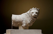 The British Museum, London. Lion from the Mausoleum at Halikarnassos. 350 BC. Penetilic marble.