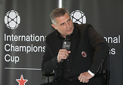 April 19, 2018 - Los Angeles, California, U.S - The 2018 International Champions Cup organizers announced the teams and schedule for the summer soccer tournament featuring top European clubs during a press conference on Thursday April 19, 2018 at OUE Skyspace LA in Los Angeles, California. A.C. Milan legend, Daniele Massaro answers a question by Charlie Stillitano executive chairman of RELEVENT. (Credit Image: © Prensa Internacional via ZUMA Wire)