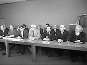 Fianna Fail Front Bench at Press Conference January 1982..1982-01-14.14th January 1982..14/01/1982.01.14.82...Charles Haughey presents his front bench to the waiting media..Pictured at Leinster House..From Left: ..George Colley TD: Deputy Leader and Spokesman on Energy..Charles Haughey TD: Leader of the Opposition..Ray Burke TD: Leader of the House..Sean Moore TD: Spokesman on Social Welfare..Gene Fitzgerald TD: Spokesman on Labour and Public Service..Martin O'Donoghue TD: Spokesman on Finance.. .