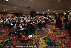 Rider meeting at the Golden Nugget prior to the start of the Motorcycle Cannonball Race of the Century Run. Atlantic City, NJ, USA. September 9, 2016. Photography ©2016 Michael Lichter.