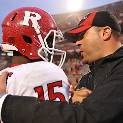 Sep 26, 2009; College Park, MD, USA; Rutgers quarterback Jabu Lovelace (15) celebrates with athletic director Tim Pernetti after Rutgers' 34-13 victory over Maryland in NCAA college football at Byrd Stadium.