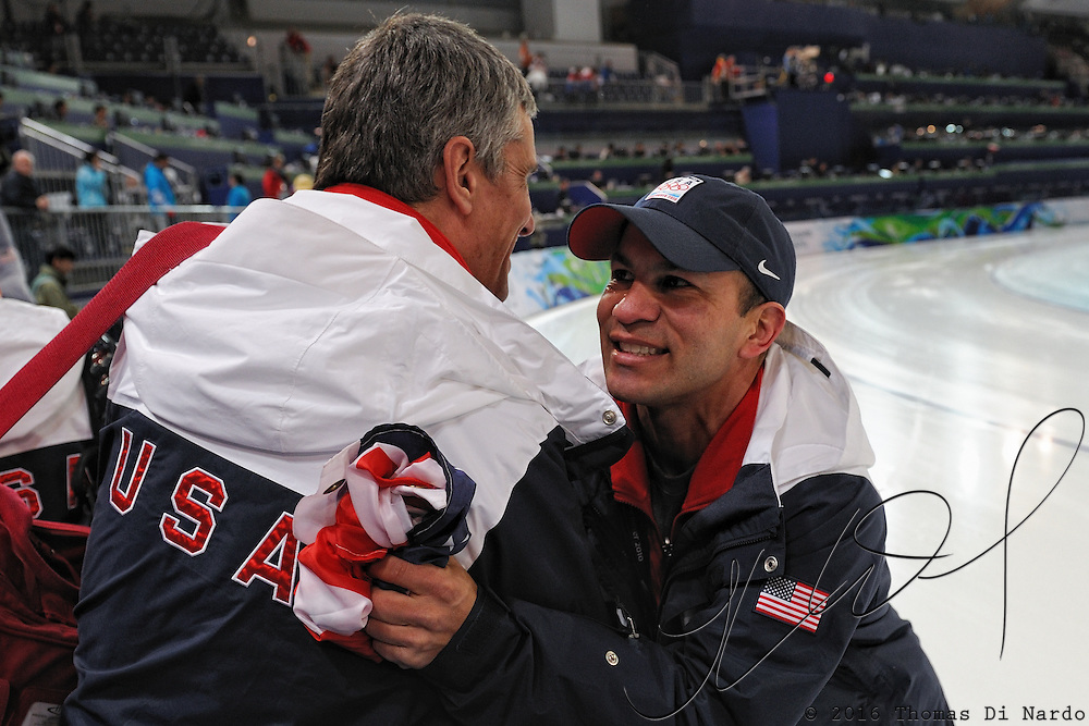 February 17, 2009 - 2010 Winter Olympics - Speedskating - US Team coach Derek Parra celebrates with US Team Team Physician and former Olympian Dr. Eric Heiden after Shani Davis and Chad Hedrick win the Gold and Bronze medals in the 1000m distance held at the Richmond Olympic Oval.