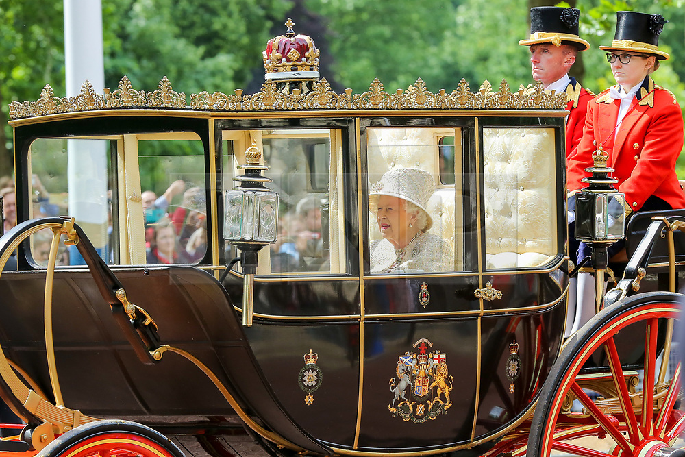 © Licensed to London News Pictures. 08/06/2019. London, UK. Her Majesty the Queen makes her way to Horse Guards Parade for the Trooping the Colour ceremony, which marks her 93rd birthday, Britain's longest reigning monarch. Photo credit: Dinendra Haria/LNP