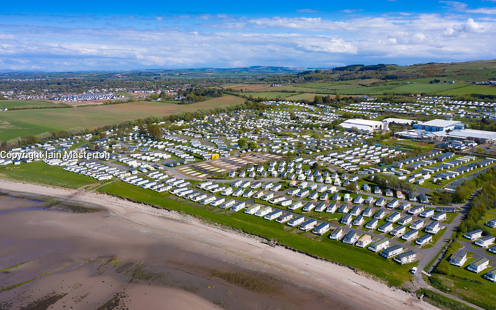 Aerial view of caravans at Craig Tara Caravan Holiday Park, south of Ayr. Park is closed during coronavirus pandemic.