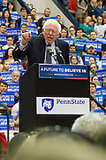 Senator Bernie Sanders speaks to a crowd of more than 6,600 during a rally at Penn State's Rec Hall on April 19, 2016.