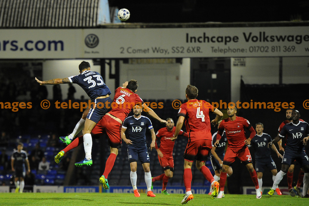 Southends Ryan Iniss in action during the Checkatrade Trophy match between Southend United and Leyton Orient at Roots Hall in Southend. October 11, 2016.<br />Holly  Allison / Telephoto Images<br />+44 7967 642437