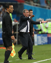 SOCHI, June 30, 2018  Head coach Fernando Santos (R front) of Portugal reacts during the 2018 FIFA World Cup round of 16 match between Uruguay and Portugal in Sochi, Russia, June 30, 2018. Uruguay won 2-1 and advanced to the quarter-final. (Credit Image: © Ye Pingfan/Xinhua via ZUMA Wire)