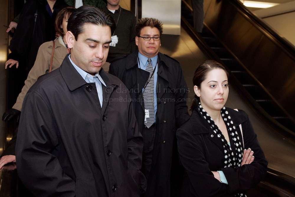 REDWOOD CITY, CA - DECEMBER 6:  Brent Rocha (L) and Amy Rocha (R) the brother and half sister of Laci Peterson leave for a lunch break during the Scott Peterson sentencing phase on December 6, 2004 at the San Mateo County courthouse in Redwood City, California .  Peterson was found guilty of first degree murder of his wife Laci and second degree murder of their unborn son and could face the death penalty. (Photo by David Paul Morris/Getty Images) POOL PHOTO