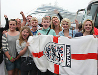 Celebrity Eclipse collecting stranded holiday makers from Bilbao, Spain..A group from Ossett, Wakefield, about to join Celebrity Eclipse which has arrived to collect UK holiday makers stranded in Spain.