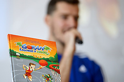 Cover of the book at presentation of Goran Dragic and Primoz Suhodolcan book Goran, legenda of zmaju, on August 23 2017 in Radisson Blu Plaza, Ljubljana, Slovenia. Photo by Matic Klansek Velej / Sportida