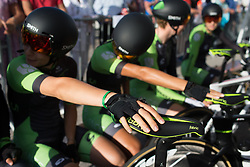 Cylance Pro Cycling riders wait for their start before the Crescent Vargarda - a 42.5 km team time trial, starting and finishing in Vargarda on August 11, 2017, in Vastra Gotaland, Sweden. (Photo by Balint Hamvas/Velofocus.com)