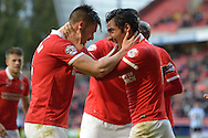 Johnnie Jackson, the Charlton Athletic Captain (l) celebrates after he scores his teams 1st goal of the match from a corner to make it 1-0 . Skybet football league championship match, Charlton Athletic v Sheffield Wednesday at The Valley  in London on Saturday 7th November 2015.<br /> pic by John Patrick Fletcher, Andrew Orchard sports photography.