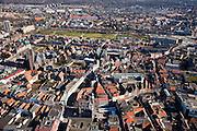 Nederland, Limburg, Venlo, 07-03-2010; Venlo, binnenstad met Grote of St. Martinuskerk, Stadhuis met en zondagsmarkt..City centre with St. Martin's , City Hall and sunday market.luchtfoto (toeslag), aerial photo (additional fee required).foto/photo Siebe Swart