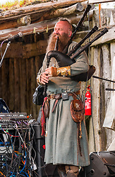 Pictured: Charlie Allan at Duncarron Medieval Village Opening. Carron Valley Forest, Lanarkshire, 18 May 2019. In authentic Scottish weather, The Clanranald Trust opens a full-scale replica of an early Medieval Fortified Village typical of a Scottish Clan Chief's residence. The open air museum includes traditional buildings such as round houses, a great hall, and tower. The event kicks off with Saor Patrol, fronted by Charlie Allan, CEO of Clanranald Trust.<br /> Sally Anderson | EdinburghElitemedia.co.uk