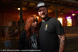 Savannah Rose and Chris Moos in Loretta's Roadhouse during the Tennessee Motorcycles and Music Revival at Loretta Lynn's Ranch. Hurricane Mills, TN, USA. Thursday, May 20, 2021. Photography ©2021 Michael Lichter.