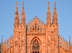 THEMENBILD - Die Lombardei ist eine norditalienische Region mit einer Fläche von 23.863 km und ca.9,8 Mio. Einwohnern. Sie ist in zwölf Provinzen aufgeteilt und liegt zwischen Lago Maggiore, Po und Gardasee. Bilder aufgenommen am 21. August 2013, im Bild Detailaufnahme Guglie, T¬ürme Westfassade Kathedrale Mailaender Dom oder Duomo di Santa Maria Nascente im Abendlicht // THEMES PICTURE - Lombardy is a northern Italian region with an area of 23,863 km and a population of 9,8 Mio. It is divided twelve provinces and is situated between Lake Maggiore, Lake Garda and Po. Pictured on 2013/08/21. EXPA Pictures © 2013, PhotoCredit: EXPA/ Eibner/ Michael Weber<br /> <br /> ***** ATTENTION - OUT OF GER *****
