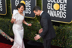January 6, 2019 - Los Angeles, California, U.S. - Sandra Oh and Andy Samberg during red carpet arrivals for the 76th Annual Golden Globe Awards at The Beverly Hilton Hotel. (Credit Image: © Kevin Sullivan via ZUMA Wire)