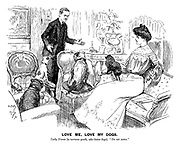 """Love Me, Love My Dogs. Lady Diana (to nervous youth, who hates dogs). """"Do sit down."""""""