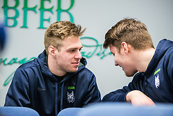 Mark Cepon and Miha Zajc during press conference of Slovenia Ice Hockey Team before friendly games against Hungary, Italy and Belarus, on February 4, 2019 in Bled, Slovenia. Photo by Peter Podobnik / Sportida