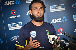 February 16, 2017 - Auckland, New Zealand - Imran Tahir of South Africa speaks to the media during a press conference ahead of a test Cricket match between South Africa and New Zealand. The match is scheduled tomorrow night. (Credit Image: © Shirley Kwok/Pacific Press via ZUMA Wire)