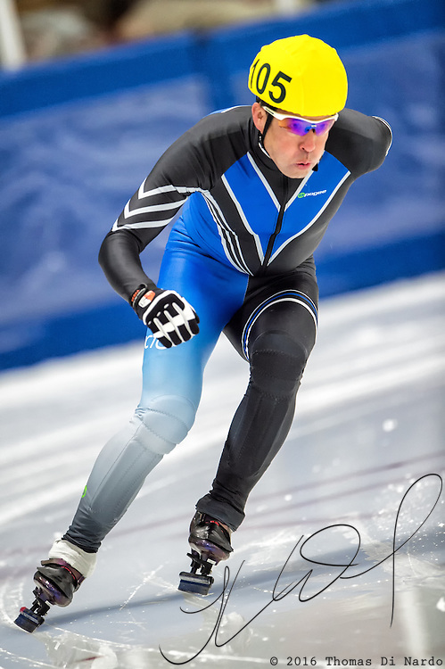 March 18, 2016 - Verona, WI - Glen Winkel, skater number 105 competes in US Speedskating Short Track Age Group Nationals and AmCup Final held at the Verona Ice Arena.