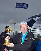 The Aberdeen Asset Management Scottish Open Golf Championship 2012 At Castle Stuart Golf Links..Final Round Saturday 14-07-12.. .Rt Hon First Minister Alex Salmond MSP , with the Ryder Cup, during the Final Round of The Aberdeen Asset Management Scottish Open Golf Championship 2012 At Castle Stuart Golf Links. The event is part of the European Tour Order of Merit and the Race to Dubai....At Castle Stuart Golf Links, Inverness, Scotland...Picture Mark Davison/ ProLens PhotoAgency/ PLPA.Saturday 14th July 2012.