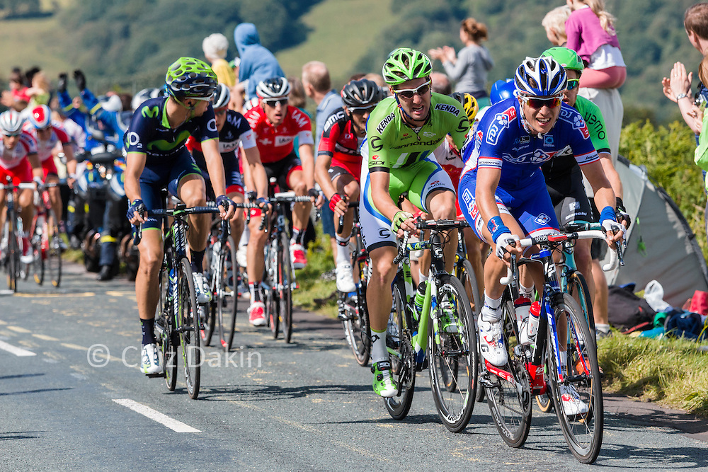 Tour de France Riders and team cars on Stage 2 2014 - York to Sheffield - near Col de Midhopestones