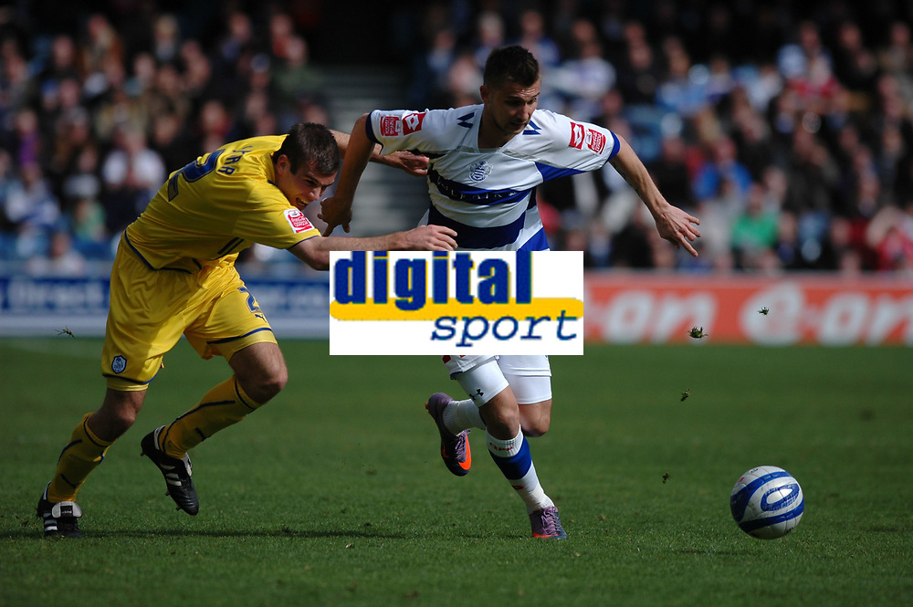 Photo: Tony Oudot/Richard Lane Photography. QPR v Sheffield Wednesday. Coca-Cola Football League One. 03/04/2010. <br /> Tamas Priskin of QPR goes past Tommy Spurr of Sheffield Wednesday