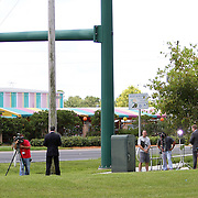 Multiple news and media outlets from across the U.S. set up a media village in the parking lot as George Zimmerman's trial in the shooting death of Trayvon Martin gets underway at the Seminole County Criminal Justice Center on Monday, June 24, 2013 in Sanford, Florida. (AP Photo/Alex Menendez)