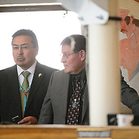 012714  Adron Gardner/Independent<br /> <br /> Lorenzo Bates, right, looks on during day one of the winter council session in Window Rock Monday.