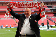 Rotherham United Manager Steve Evans celebrates after the game Skybet football league one play off final match , Leyton Orient  v Rotherham Utd at Wembley Stadium in  London on Sunday 25th May 2014.<br /> pic by John Patrick Fletcher, Andrew Orchard sports photography.