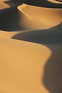 Sahara desert sand dunes with deep shadows at Erg Lihoudi, M'hamid, Morocco.