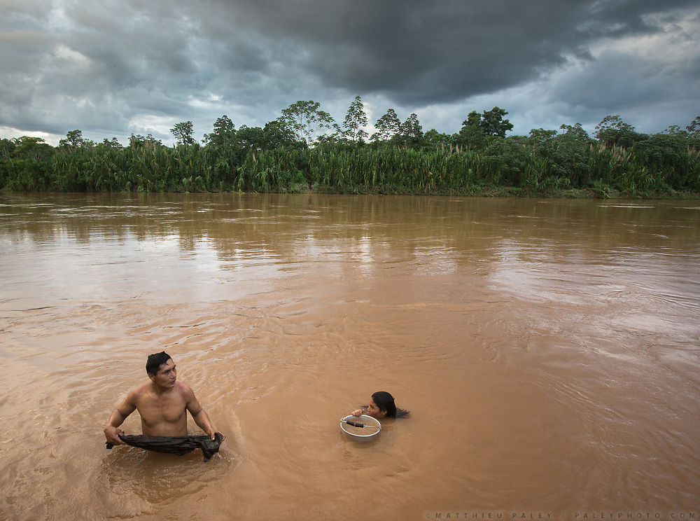 Evening bath in a tributary of the Amazon. It took us two days by dug-out canoe to get up here.