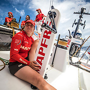 Leg 4, Melbourne to Hong Kong, day 12 on board MAPFRE, Tamara Echegoyen in stand by for trim. Photo by Ugo Fonolla/Volvo Ocean Race. 13 January, 2018.