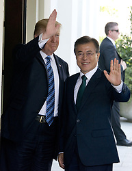 June 30, 2017 - Washington, District of Columbia, United States of America - United States President Donald J. Trump welcomes President Moon Jae-in of the Republic of Korea at the White House in Washington, DC on Friday, June 30, 2017.  .Credit: Ron Sachs / CNP (Credit Image: © Ron Sachs/CNP via ZUMA Wire)