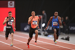 February 7, 2018 - Paris, Ile-de-France, France - From left to right : Hassan Tafian of Iran, Jimmy Vicaut of France, Ojie Edoburun of Great Britain compete in 60m during the Athletics Indoor Meeting of Paris 2018, at AccorHotels Arena (Bercy) in Paris, France on February 7, 2018. (Credit Image: © Michel Stoupak/NurPhoto via ZUMA Press)