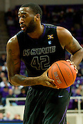 FORT WORTH, TX - JANUARY 7: Thomas Gipson #42 of the Kansas State Wildcats brings the ball up court against the TCU Horned Frogs on January 7, 2014 at Daniel-Meyer Coliseum in Fort Worth, Texas.  (Photo by Cooper Neill/Getty Images) *** Local Caption *** Thomas Gipson