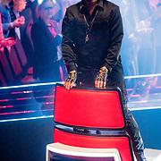 NLD/Hilversum/20190222 - Finale TVOH 2019, Waylon staat op zijn stoel