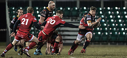 Dragons' Dorian Jones tries to break free.<br /> <br /> Photographer Simon Latham/Replay Images<br /> <br /> Guinness PRO14 - Dragons v Edinburgh - Friday 23rd February 2018 - Eugene Cross Park - Ebbw Vale<br /> <br /> World Copyright © Replay Images . All rights reserved. info@replayimages.co.uk - http://replayimages.co.uk