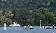 """Henley. Berks, United Kingdom. <br /> <br /> General View of the Start, with, """"Crews and umpires launch waiting for the off"""". 2017 Henley' Women's Regatta. Rowing on, Henley Reach. River Thames. <br /> <br /> <br /> Saturday  17/06/2017<br /> <br /> <br /> [Mandatory Credit Peter SPURRIER/Intersport Images]"""