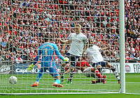 GOAL - Preston North End's Jermaine Beckford scores the opening goal  <br /> <br /> Photographer Craig Thomas/CameraSport<br /> <br /> Football - The Football League Sky Bet League One Play-Off Final - Preston North End v Swindon Town - Sunday 24th May 2015 - Wembley Stradium - London<br /> <br /> © CameraSport - 43 Linden Ave. Countesthorpe. Leicester. England. LE8 5PG - Tel: +44 (0) 116 277 4147 - admin@camerasport.com - www.camerasport.com