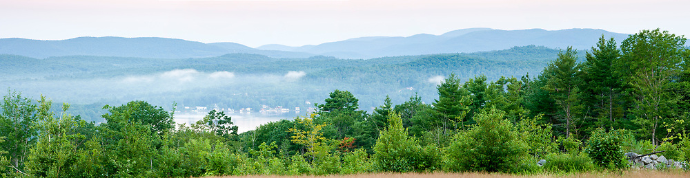 The view towards Merrymeeting Lake from a field on Birch Hill in New Durham, New Hampshire.