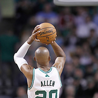 10 May 2012: Boston Celtics shooting guard Ray Allen (20) is seen at the free throw line during the Boston Celtics 83-80 victory over the Atlanta Hawks, in Game 6 of the Eastern Conference first-round playoff series, at the TD Banknorth Garden, Boston, Massachusetts, USA.