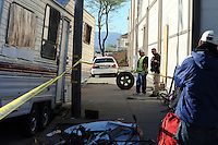 Mobile homes were subject to towing by the city of Salinas as it made a sweep of homeless encampments on Thursday, March 24th in the Market Way area of Chinatown.