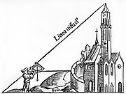 Using a quadrant with a plumb bob to calculate the height of a tower by triangulation. From Sebastian Munster 'Rudimenta Mathematica', Basle 1551. Woodcut.