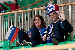 Fans at ice-hockey match between Slovenia and Kazahstan, on April 12, 2011 at Hala Tivoli, Ljubljana, Slovenia. (Photo By Matic Klansek Velej / Sportida.com)
