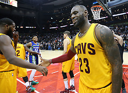 March 3, 2017 - Atlanta, GA, USA - LeBron James and the Cavaliers set an NBA record with 25 three pointers during a 135-130 win over the Hawks in a NBA basketball game at Philips Arena on Friday, March 3, 2017, in Atlanta, GA. (Credit Image: © Curtis Compton/TNS via ZUMA Wire)