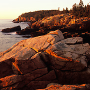 Sunrise over the rockbound granite coast of Maine on Mt. Desert Island in Acadia National Park, Maine.